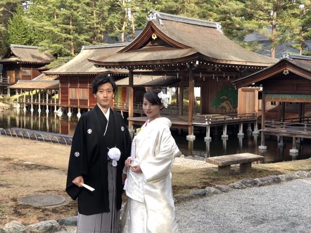 身曾岐神社でお式をされた和装花嫁さまを紹介いたします(白無垢・綿帽子)