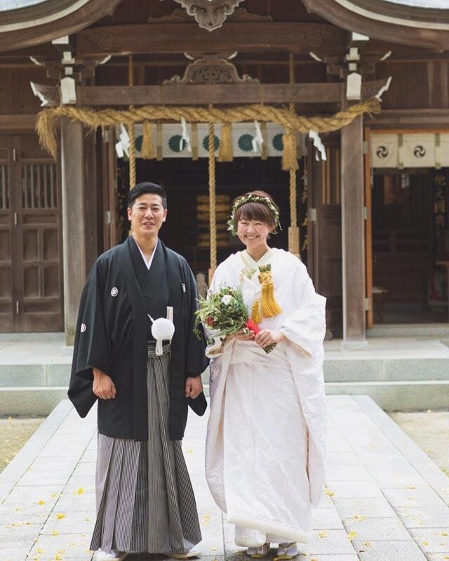 神社でお式をされた新郎新婦さま