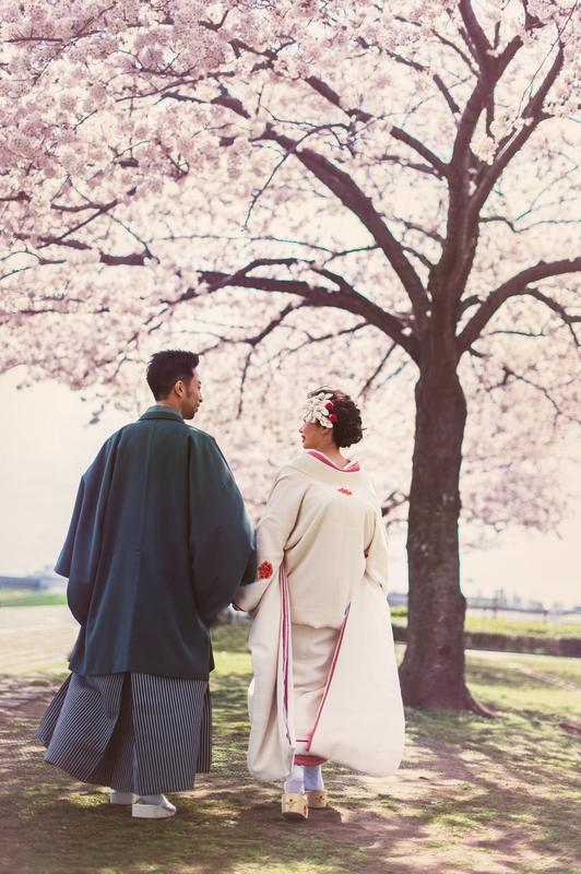 桜の中での和装前撮りも素敵ですね