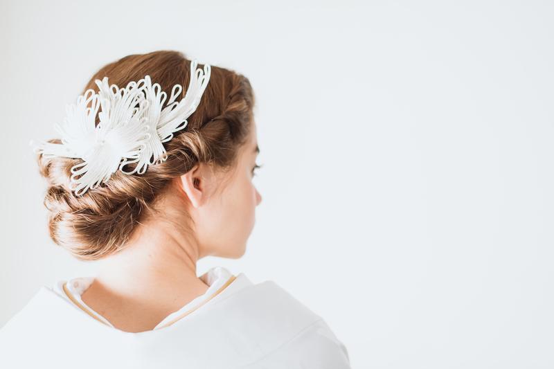 白無垢×洋髪にヘッドドレス