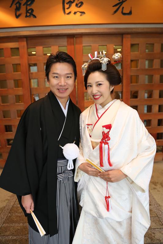 身曾岐神社でお式をされた和装花嫁さまを紹介いたします(白無垢・角隠し/結い上げ):白無垢姿の可愛らしい先輩花嫁さま